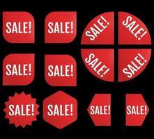 Black Friday New Sale Sticker Set. Red promotion labels vector