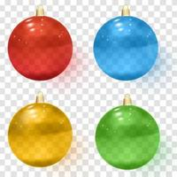 Transparent glass Christmas balls Realistic Christmas glass balls vector