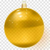 Orange realistic Christmas glass ball with shadows vector