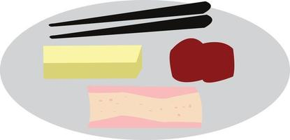 Simple illustration design of traditional japanese food set with local theme vector