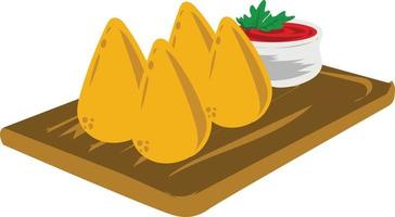 Brazilian food illustration design with the name coxinha vector