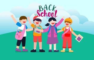 Bienvenido de nuevo a la escuela con divertidos personajes escolares ilustración vectorial plana. vector