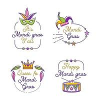 Set of colorful attributes for celebrating Mardi Gras vector