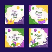 Set of colorful card for celebrating Mardi Gras vector