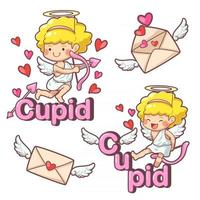 cute cartoon cupid angels kid background poster Collection characters in kids concept vector