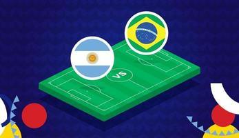 Argentina vs Brasil partido ilustración vectorial campeonato de fútbol de América del Sur 2021 vector