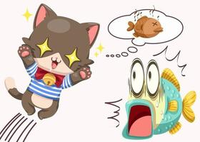 Hungry cat and shock fish in cartoon character vector