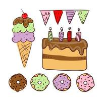 Big bundle of isolated vector elements for birthday party decoration