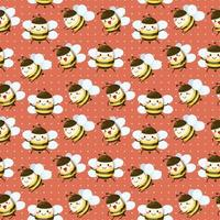 seamless pattern bee and honeycomp in cartoon characters vector