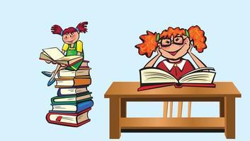 Happy School Kids Book Reading free clipart vector