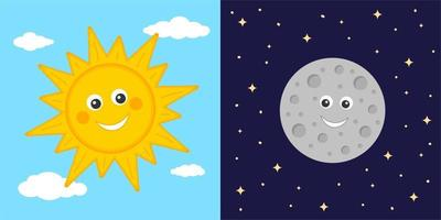 Day and night concept. Cute sun and moon characters. Sun on blue cloudy sky and moon on dark starry space background. Astronomy for kids vector