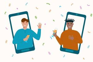 Online home party concept. Two men on smartphones screens celebrating,  communicating, drinking. Friends using video app for meeting vector