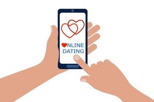 Online dating app for mobile phones. Hands holding smartphone and forefinger touching screen to enter vector