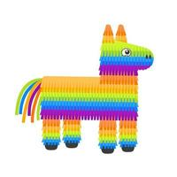 Colorful pinata donkey with sweets for birthday party vector