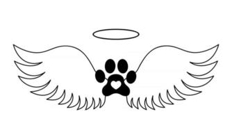 Dogs paw with angel wings, halo and heart inside. Pet memorial concept. Printable and cuttable graphic design for tattoo, tshirt, memory board, tombstone vector