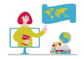 Online geography teacher with world map on computer monitor. Remote learning lesson or webinar. Distance education, homeschooling concept vector