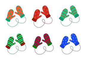Pair of knitted mittens set. Woolen christmas mittens with different patterns vector