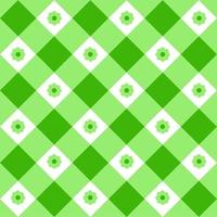 Green and white gingham seamless pattern with flowers. Checkered texture for picnic blanket, tablecloth, plaid, clothes. Springtime geometric background, Easter textile design vector