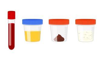 Medical tests of blood, urine, stool, sperm. Urinalysis, blood, poo and semen analysis set. Laboratory examination concept vector
