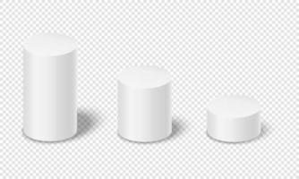 White cylinders with shadows isolated on transparent background. 3D geometric shapes. Product podiums, empty platforms vector