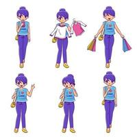 Set of lovely girl cartoon shopping character collection vector