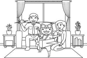 papá y mamá con su hijo que quiere ser piloto mientras juega un avión de juguete en la sala de estar. color blanco y negro. Ilustración de libro para colorear. vector