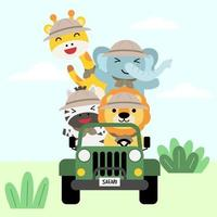 A set of big Isolated Vector animal adventure traveling illustration, hand drawn style, hiking and camping concept with traveling elements on white background.