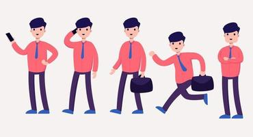 set of business worker man in cartoon character  with different actions vector