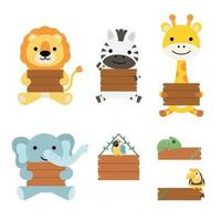 A set of big Isolated Vector illustrated animal holding a blank plank of wood, hand drawn style on white background.