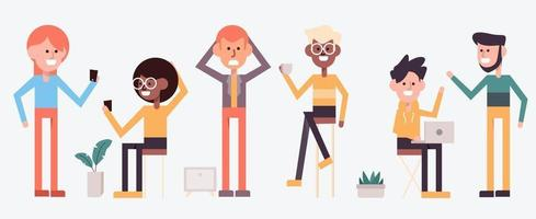 Set of people acting in cartoon charactor vector illustration