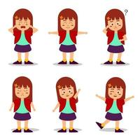 Set of people with emotion cartoon character collection vector