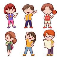 Set of lovely girl and boy cartoon character collection vector