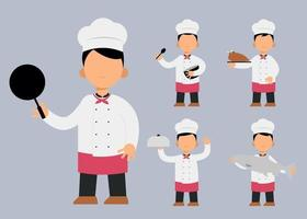set of chef man cartoon character in different actions vector illustration