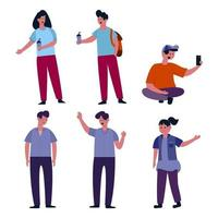 Set of people cartoon character collection vector