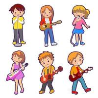 Set of Musician and singer cartoon character collection vector