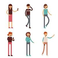 Set of work people cartoon character collection vector