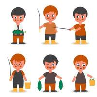 Set of fisher man in  cartoon character collection vector