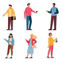 Set of daily life of work people in cartoon character collection vector