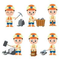 Set of miner man in cartoon character collection vector
