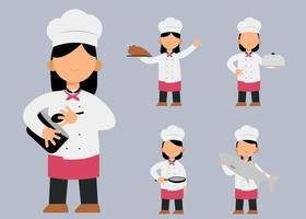 set of female chef character in different actions  vector illustration