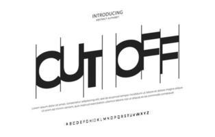 Fuente de alfabeto cursiva abstracta moderna. tipografía fuentes de estilo urbano para producción de películas, portada, póster, volante, pancarta, diseño de logotipo de película vector