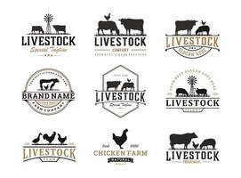 conjunto de diseño de logotipo de ganado vintage, ilustración del concepto de vector