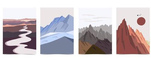 Collection of nature landscape background set with mountain,lake,sky.that use for vertical digital and printable A4 A5 size vector