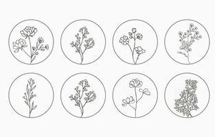colección de flores de línea con lavanda, magnolia en forma de círculo vector