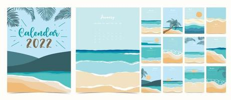 2022 table calendar week start on Sunday with beach and sea that use for vertical digital and printable A4 A5 size vector