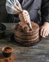 delicioso pastel de chocolate foto