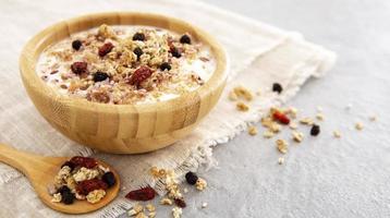 Delicious cereals yogurt photo