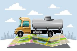 Big isolated vehicle vector colorful icons, flat illustrations of delivery by van through GPS tracking location. delivery vehicle,  liquid water delivery, instant delivery, online delivery.