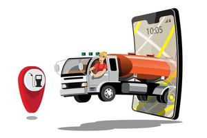 Big isolated vehicle vector colorful icons, flat illustrations of delivery by van through GPS tracking location. delivery vehicle, gas, gasoline, fuel delivery, instant delivery, online delivery.
