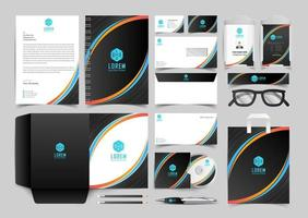 Yellow Blue and Black Corporate Identity Set. Stationery Template Design Kit. Branding Template Editable Brand Identity pack vector